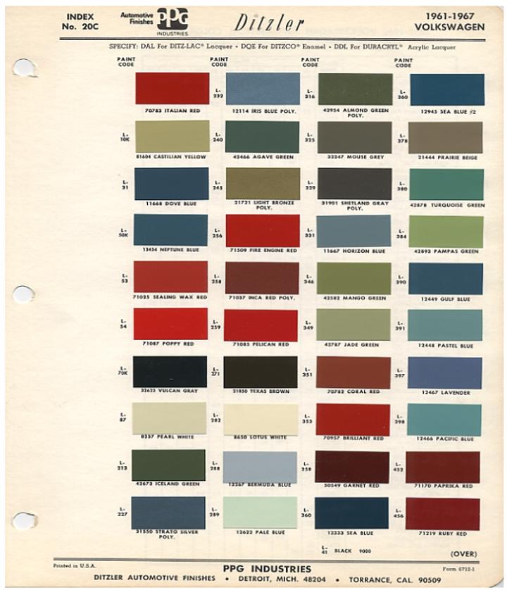 Paint Schemes: Original VW Beetle Paint Schemes